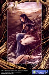 Luthien and Huan by noei1984